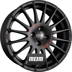 OZ SUPERTURISMO GT Matt Black + Red Lettering Einteilig