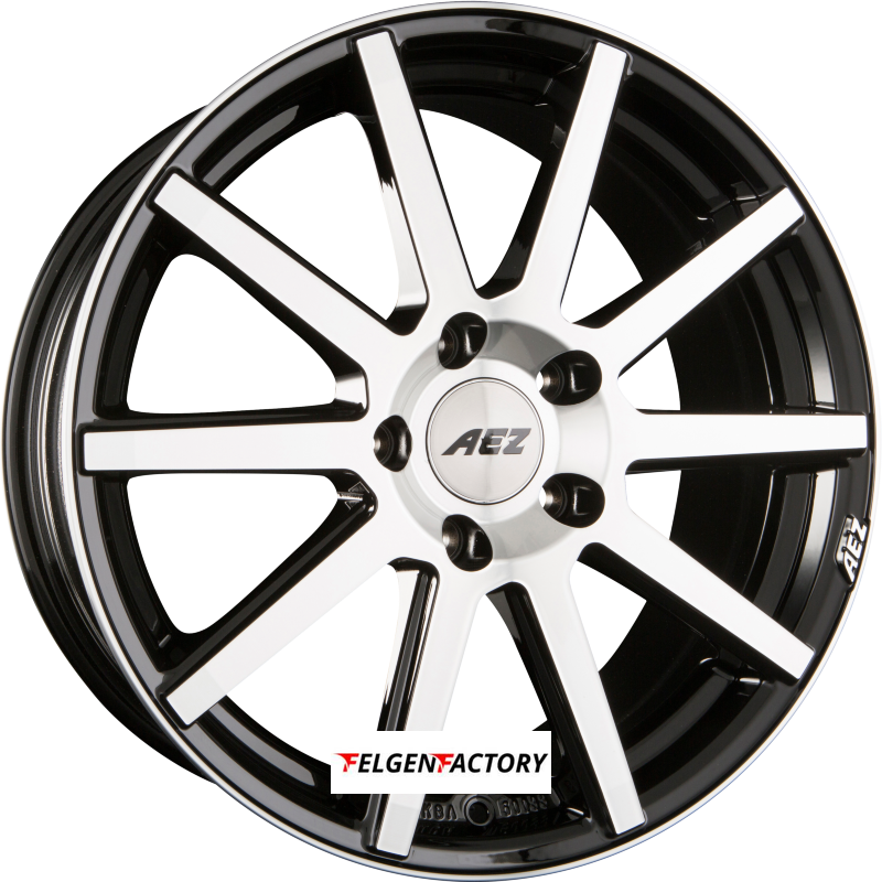 AEZ STRAIGHT Black Polished Front Einteilig 8.00 x 18 ET 48 5x114.3